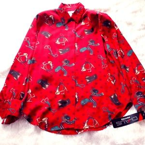 Chaus Petites Equestrian Red Blouse NWT